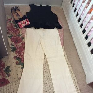 Embossed Winter White Trousers